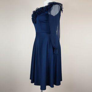 Vintage Dresses - VINTAGE Good Times Dress Navy Blue Fit and Flare